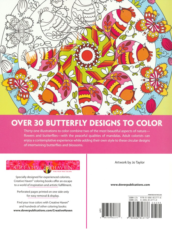 Butterfly Mandalas Coloring Book Jo Taylor 9780486813776
