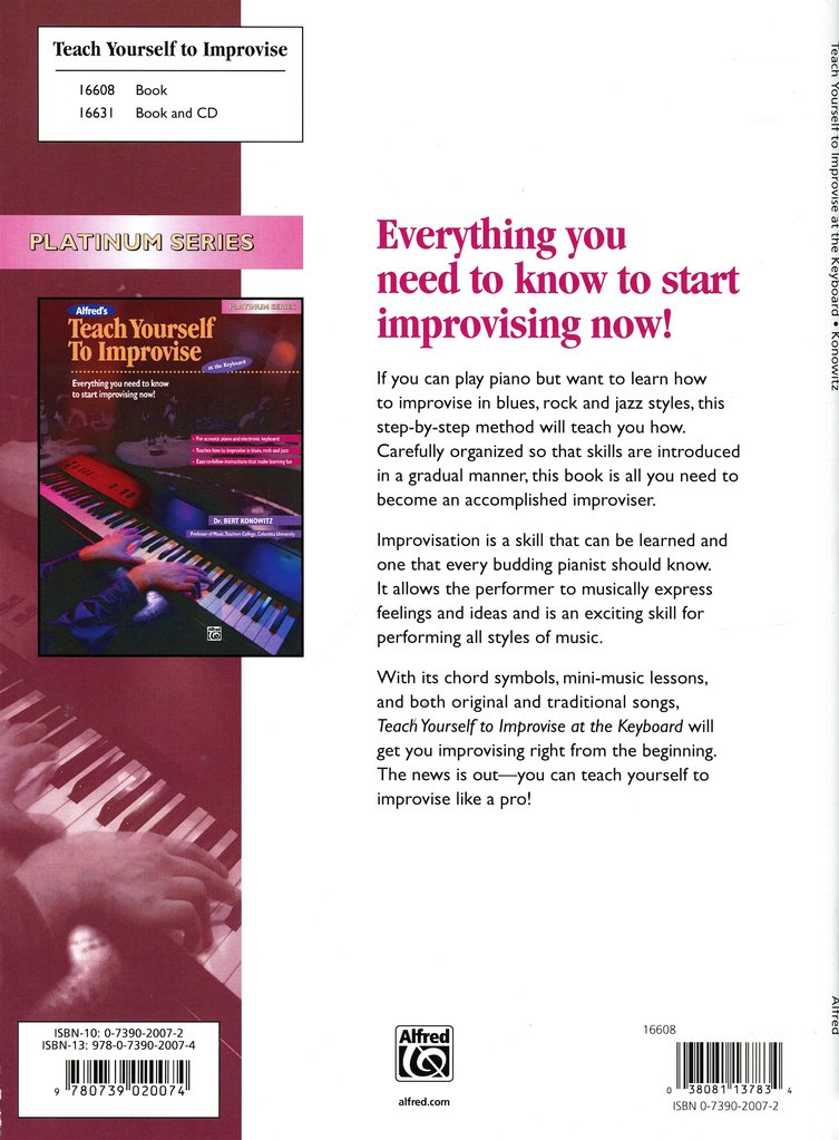 Teach Yourself to Improvise at the Keyboard, Book Only