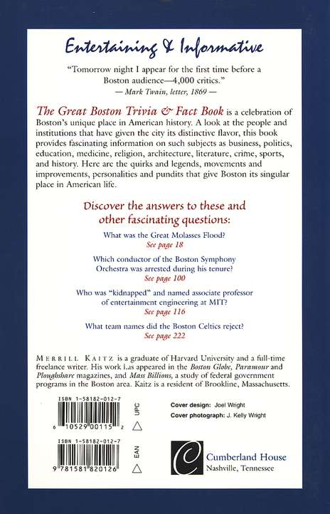 The Great Boston Trivia and Fact Book