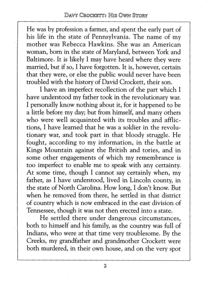 Davy Crockett His Own Story David Crockett 9781557092182