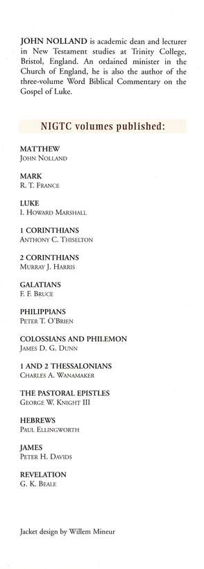 The Gospel of Matthew: New International Greek Testament Commentary [NIGTC]