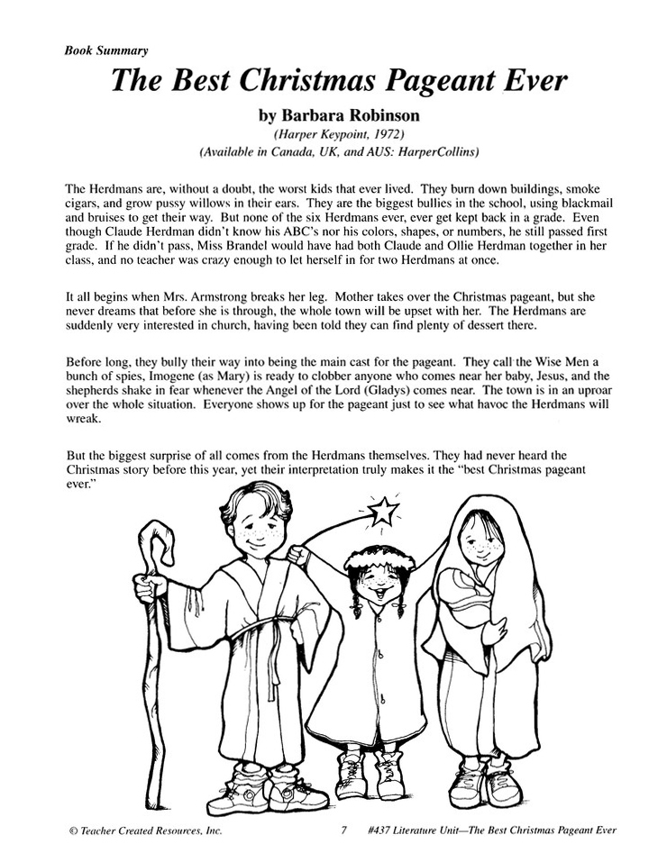 the best christmas pageant ever literature guide grades 1 3 9781557344373 christianbookcom - The Best Christmas Pageant Ever Summary