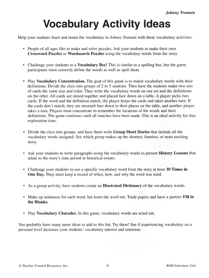 A Guide For Using Johnny Tremain In The Classroom Grades 58. A Guide For Using Johnny Tremain In The Classroom Grades 58 9781557344403 Christianbook. Worksheet. Vocabulary Worksheet Johnny Tremain At Clickcart.co