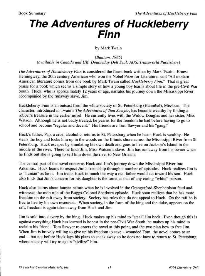 huck finn book report