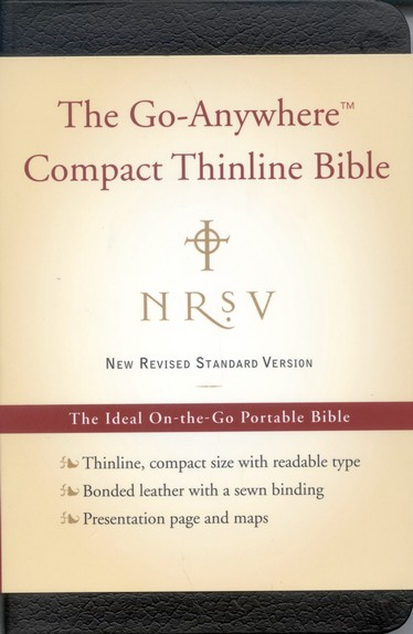 NRSV Go-Anywhere Compact Thinline Bible--bonded leather, black
