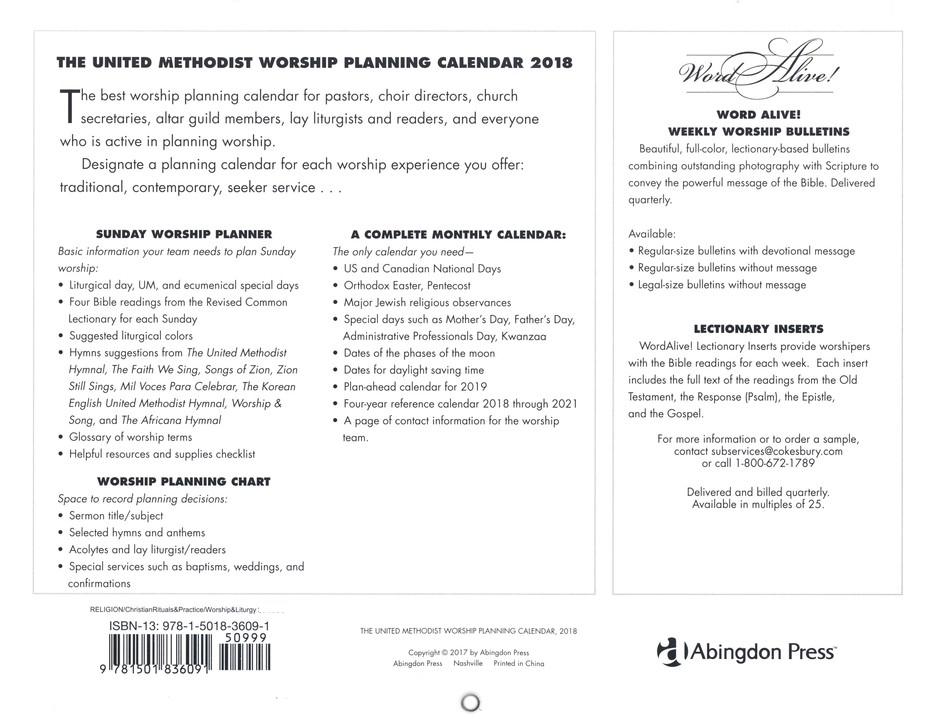 The united methodist worship planning calendar 2018 9781501836091 the united methodist worship planning calendar 2018 9781501836091 christianbook fandeluxe Images