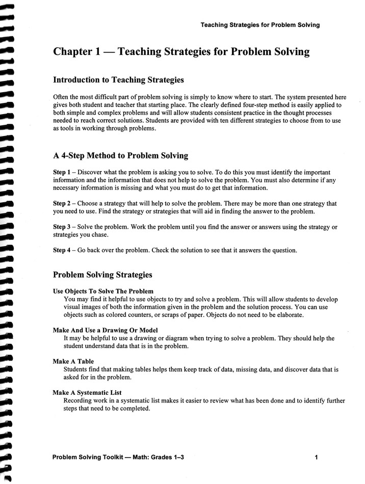 list of math problem solving strategies