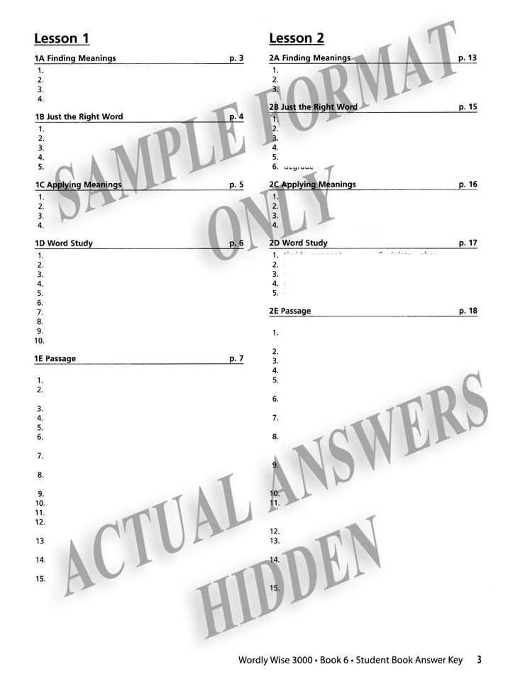 Wordly Wise 3000 3rd Edition Answer Key Book 6