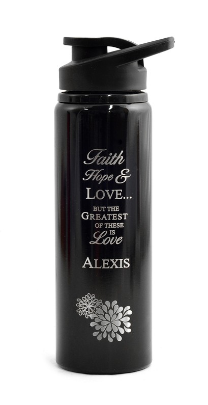 Personalized, Water Bottle, Flip Top, Love, Black