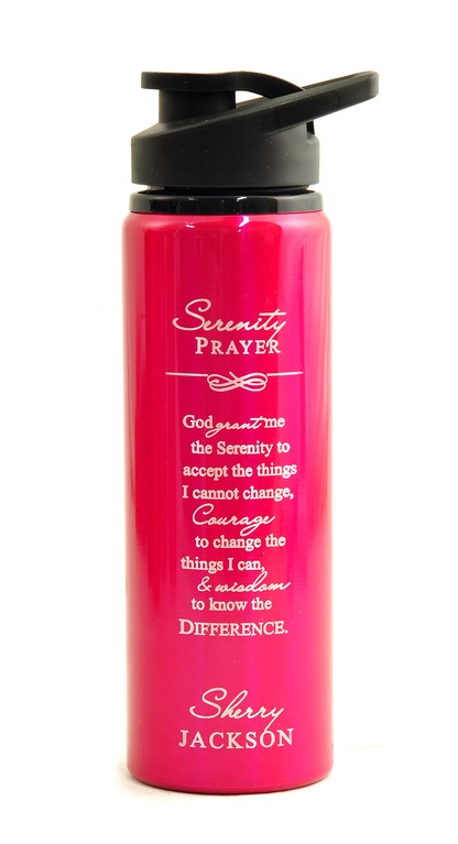Personalized, Water Bottle, Flip Top, Serenity Prayer, Pink