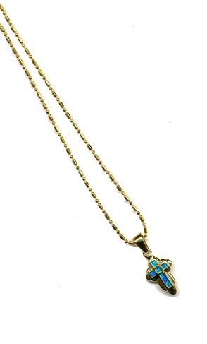 Black Opal Cross Pendant Angel Edge