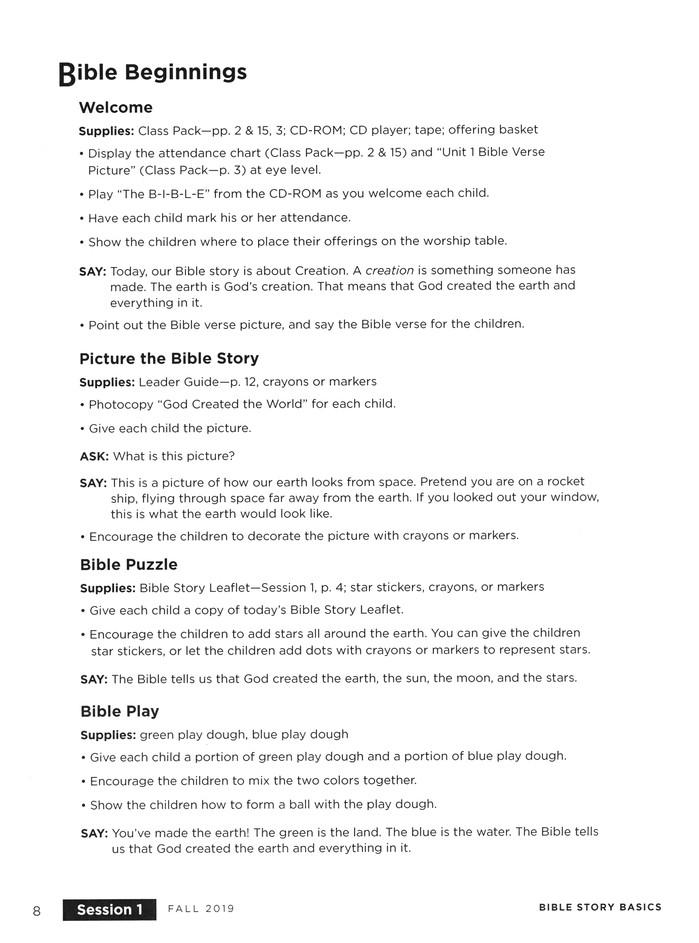 Bible Story Basics: Pre-Reader Leader Guide, Fall 2019