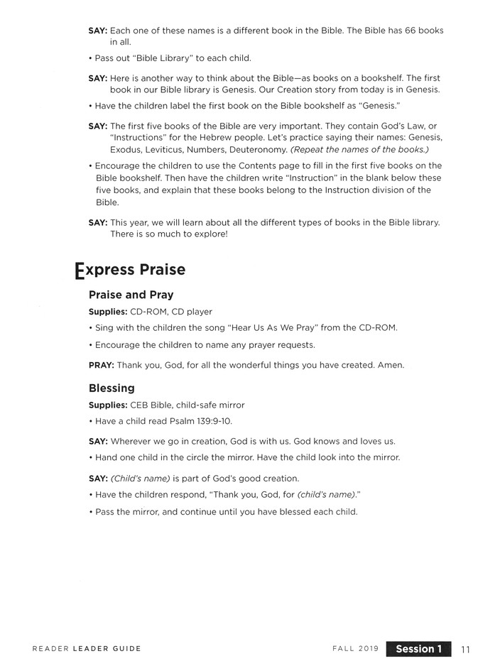 Bible Story Basics: Reader Leader Guide, Fall 2019
