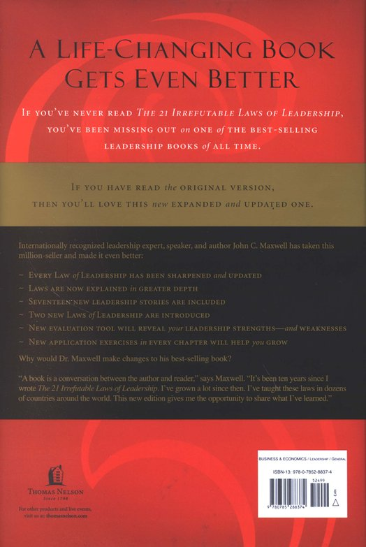 The 21 Irrefutable Laws Of Leadership 10th Anniversary Edition