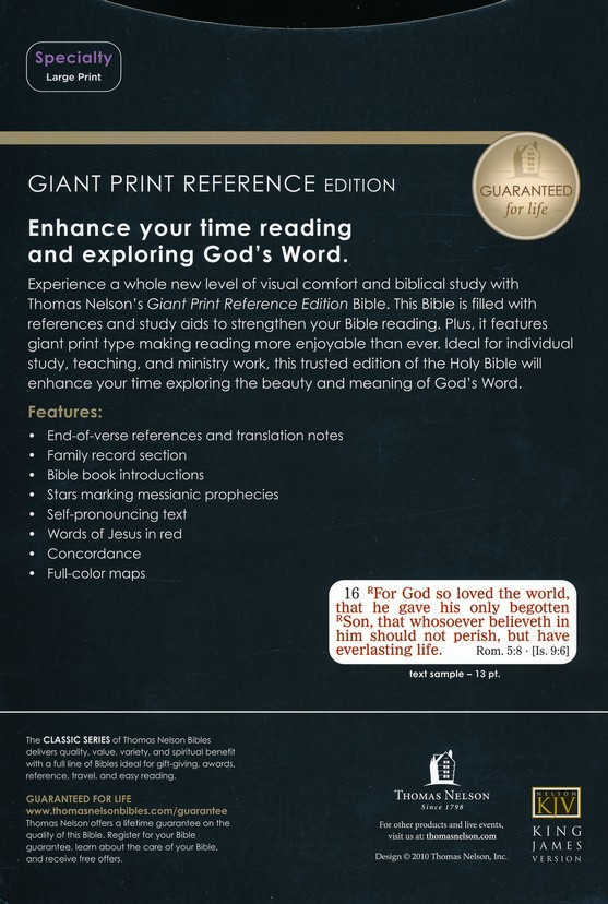 KJV Giant Print Reference Bible, Imitation Leather, black