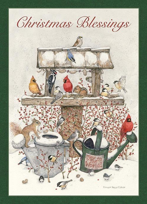 Boxed Christmas Cards.Winter Watering Cans Boxed Christmas Cards