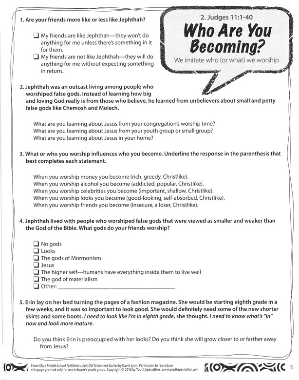 More Middle School TalkSheets, Epic Old Testament Stories: 52 Ready-to-Use  Discussions