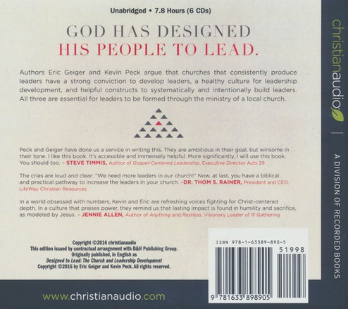 Designed To Lead The Church And Leadership Development Unabridged
