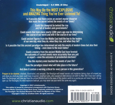 The paradigm the ancient blueprint that holds the mystery of our the paradigm the ancient blueprint that holds the mystery of our times unabridged audio book on cd narrated by paul michael by jonathan cahn malvernweather Images