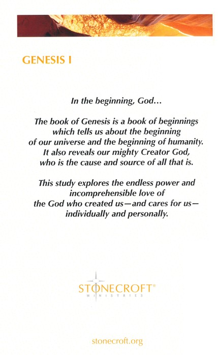 Genesis I: The God of Creation Study Book