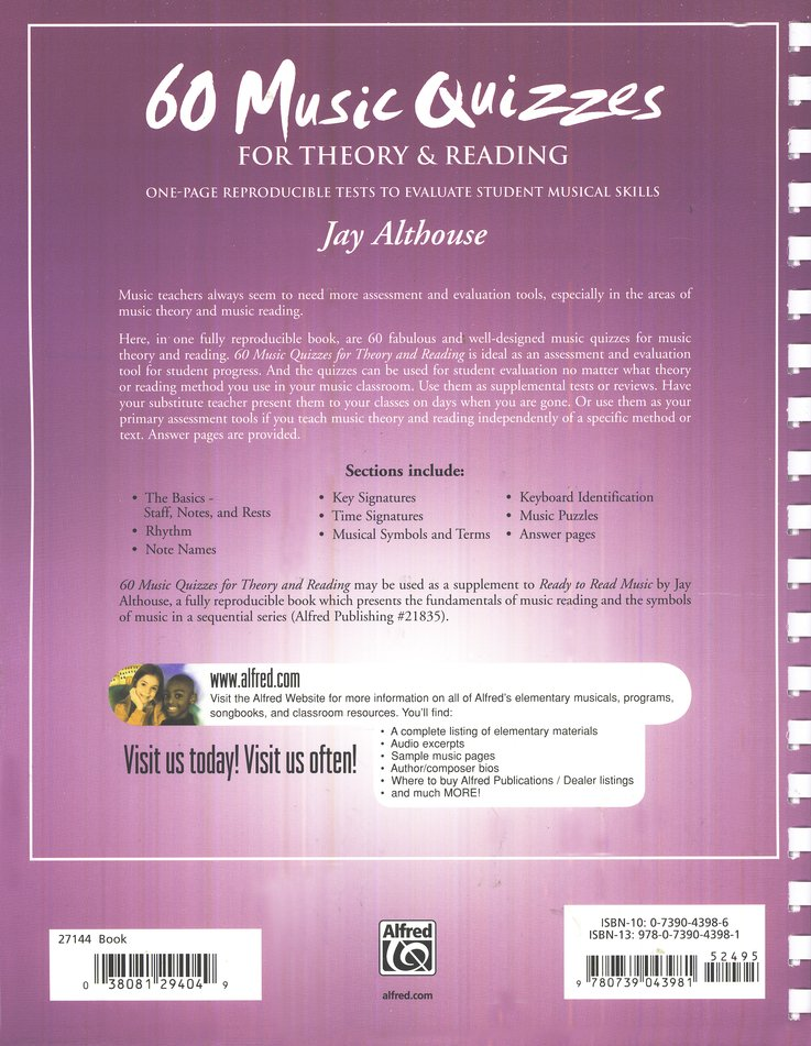 60 Music Quizzes For Theory Reading Jay Althouse 9780739043981