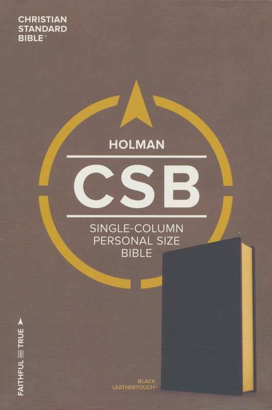 CSB Single-Column Personal-Size Bible--soft leather-look, black