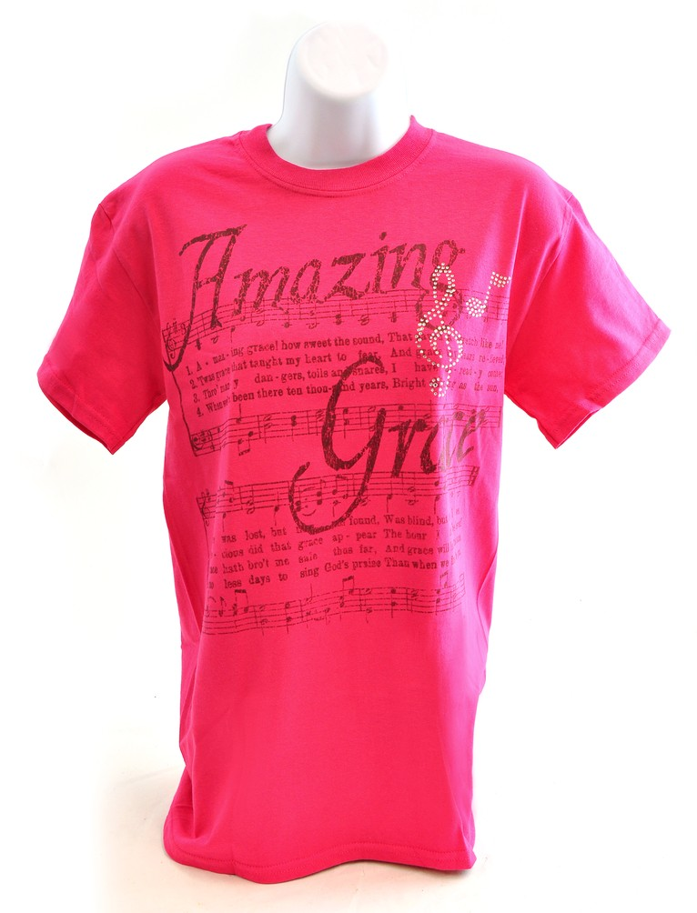 Amazing Grace with Rhinestones Shirt, Pink, Extra Large
