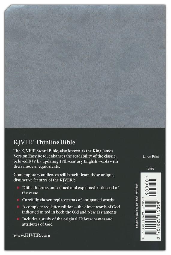 KJVer (Easy Reader) Large Print Sword Value Thinline Bible, Ultrasoft Gray