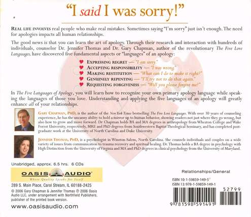 The Five Languages of Apology, Audiobook on CD