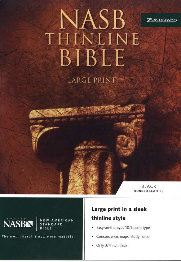 NAS Thinline Bible, Large Print, Bonded Leather Black