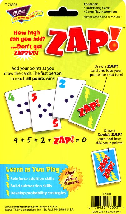 Zap! Addition Card Game