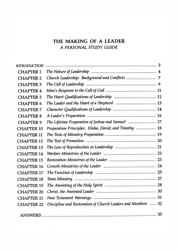 The Making of a Leader -Study Guide