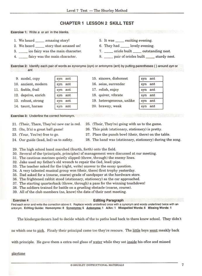 Shurley English Level 7 Student Test Workbook