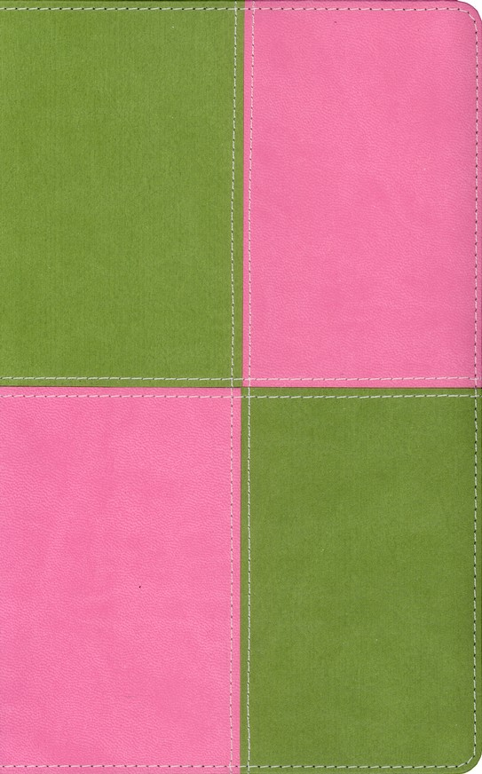 King James Version Thinline Bible, Italian Duo-Tone &#153, Meadow Green/Pink