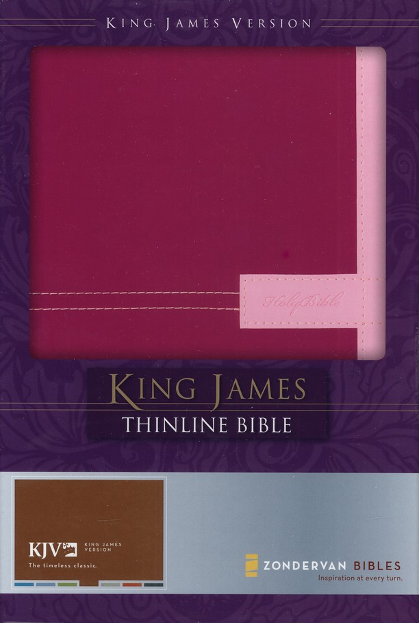 King James Version Thinline Bible, Italian Duo-Tone &#153, Razzleberry/Orchid