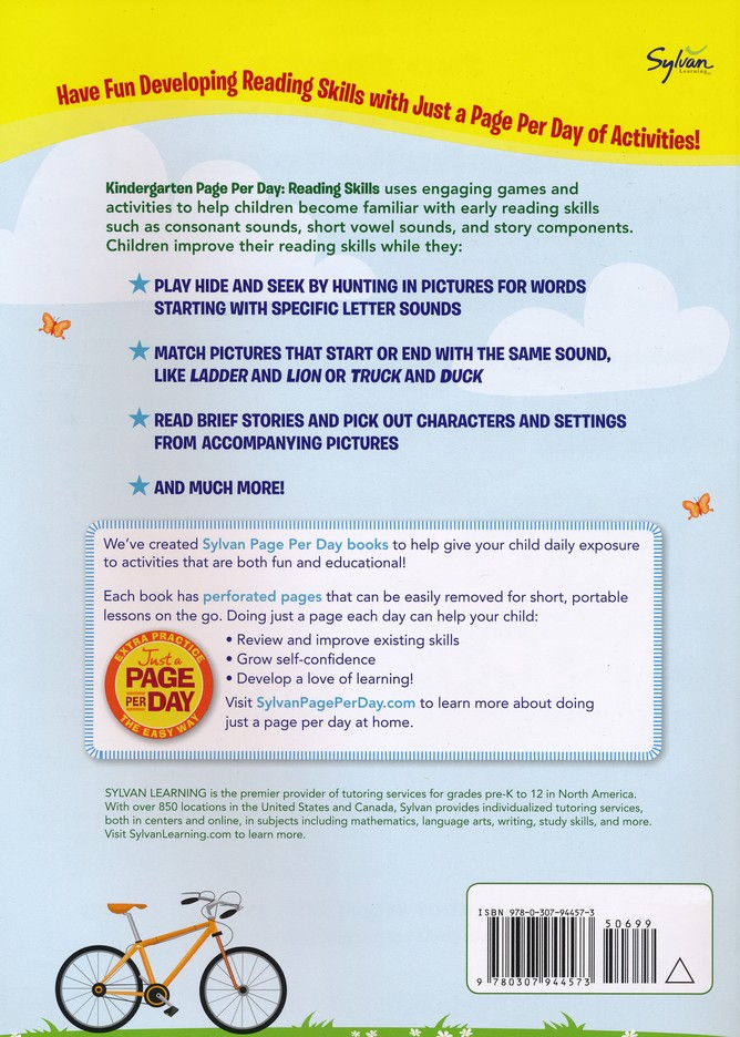 Kindergarten Page Per Day Reading Skills