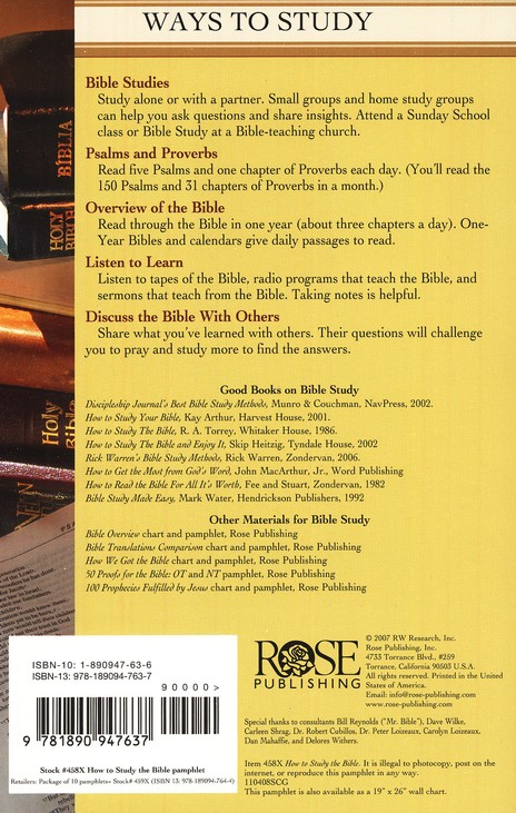 How to Study the Bible, Pamphlet