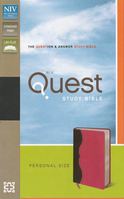 NIV Quest Study Bible, Personal Size: The Question and Answer Bible Charcoal, Imitation Leather, Pink