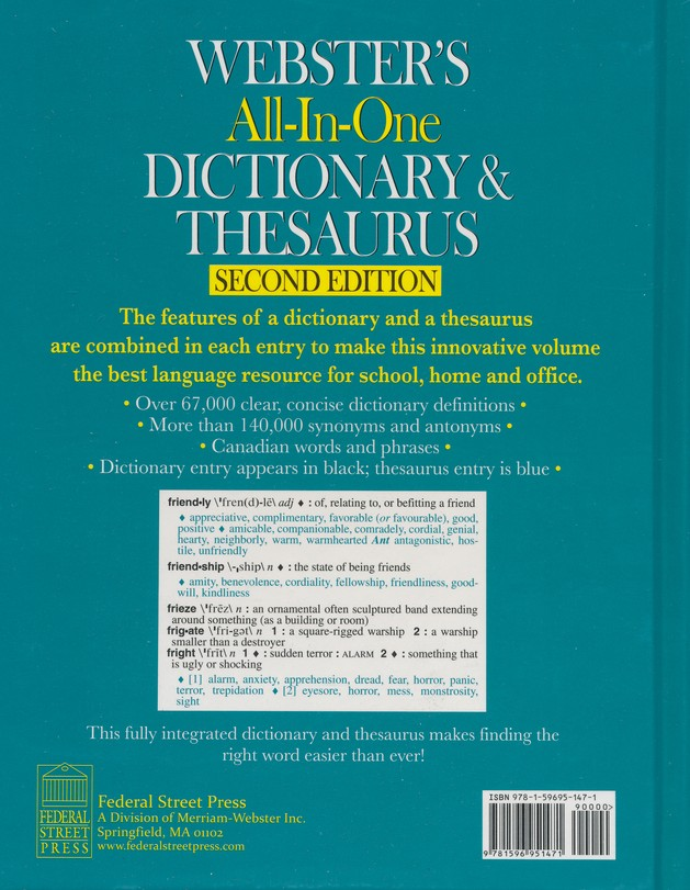 webster s all in one dictionary thesaurus second edition