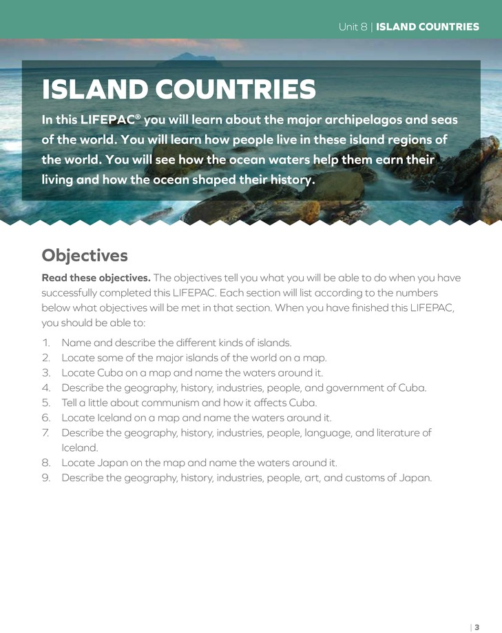 Lifepac History & Geography Grade 4 Unit 8: Living In Island Countries