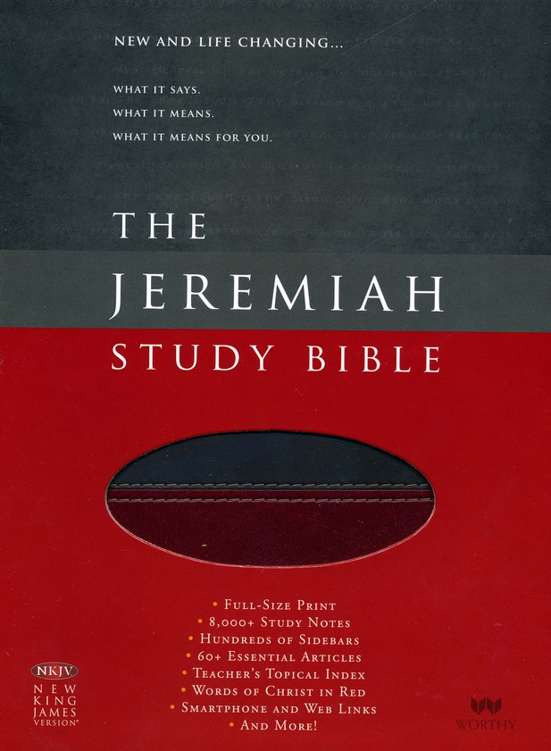 NKJV The Jeremiah Study Bible, Soft leather-look, Charcoal/burgundy