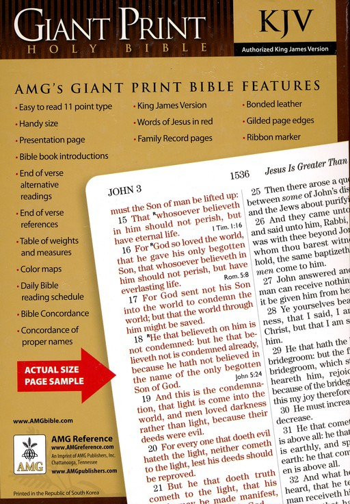 KJV Giant Print Handy Size Bible, Bonded leather, Burgundy