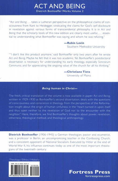 Act and Being: Dietrich Bonhoeffer Works [DBW], Volume 2