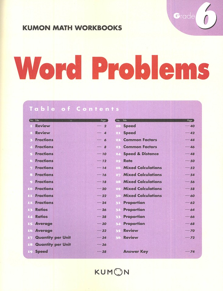Kumon Word Problems, Grade 6