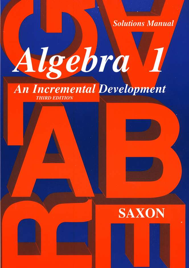 Saxon Algebra 1, Solutions Manual
