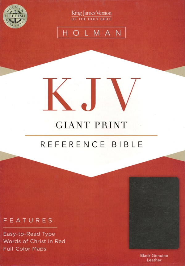 KJV Giant Print Reference Bible, Genuine leather, Black