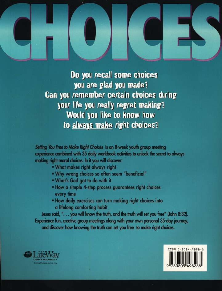 Setting You Free to Make Right Choices, Workbook