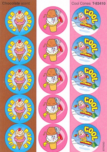 Cool Cones, Large Round Scratch and Sniff Stickers