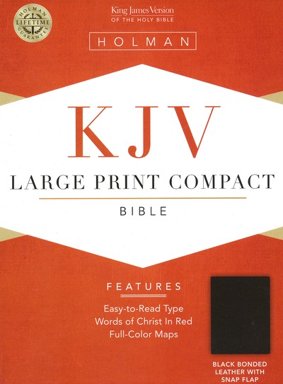 KJV Compact Bible, Large Print, Bonded leather, Black  w/magnetic flap
