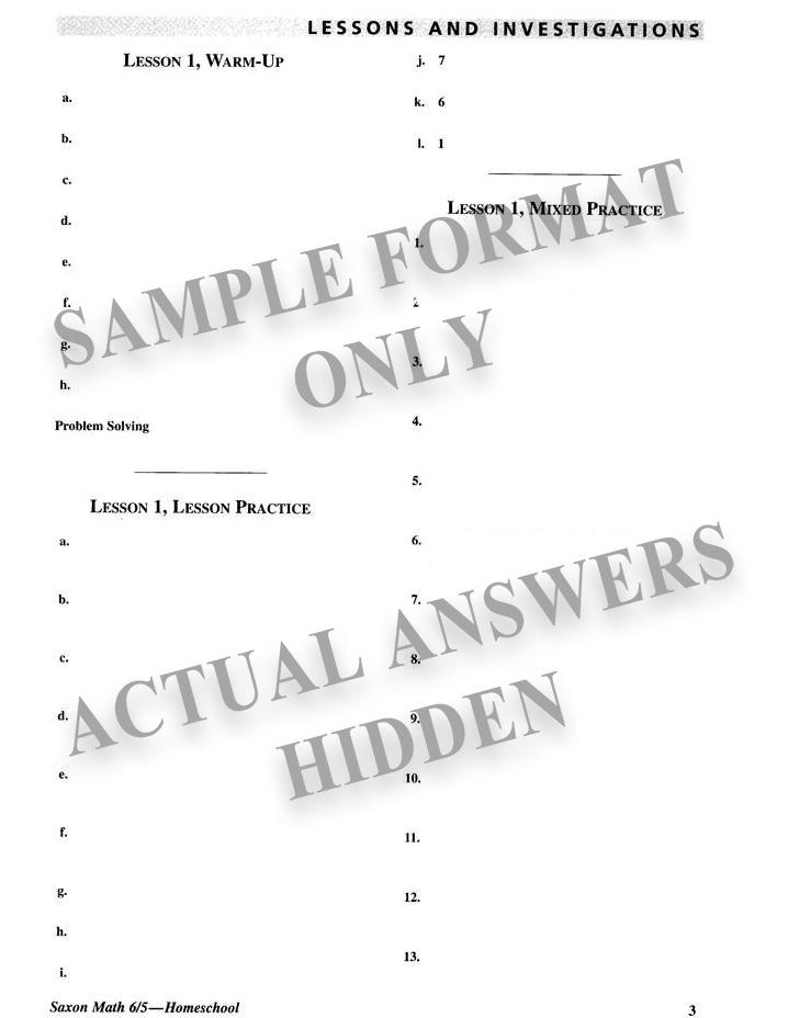 Saxon Math 6 5 Home Study Kit 3rd Edition